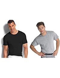 Men's Stay Tucked Crew T-Shirt, (X-Large, Black & Grey)