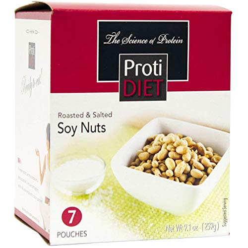 ProtiDiet Soy Nuts - Roasted & Salted (7/Box) - High Protein 15g - Low Carb - High Fiber -