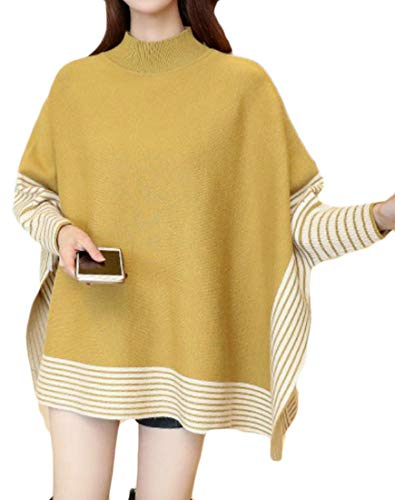 - Cromoncent Womens Loose Fit Striped Batwing Sleeve Cape Poncho Knit Pullover Jumper Sweater Yellow One-Size