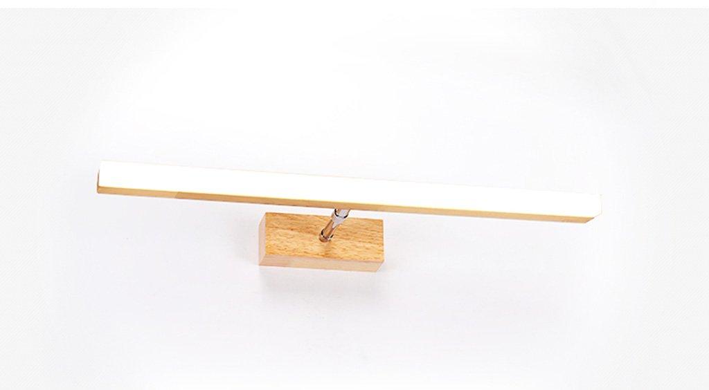 badezimmerlampe Nordic Massivholz Spiegel Scheinwerfer LED Badezimmer Toilette Holz Spiegel Schrank Licht Spiegel Schrank Mit Erweißerung Lenkfunktion Schminklicht (Farbe   Warmes Licht-40cm)