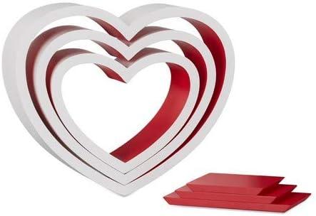 wei/ß-blau Relaxdays Wandregal Herz 3er Set schwebende Wandablage bis 6 kg belastbar romantische Herzform Dekoregale