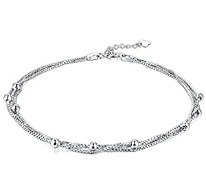 Daesar 925 Silver Anklets for Women Three Layer Chain Ball Silver Ankle Jewelry