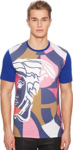 Versace Collection Men's Abstract Medusa Tee Royal Blue - Collection Versace Medusa