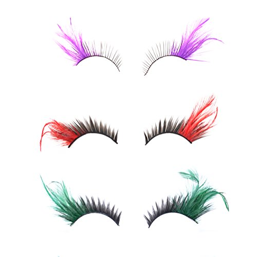 KLOUD City® 3 Pairs Different Deluxe Party Stage Feather False Eyelashes Eye Lashes (Green Eyelashes)