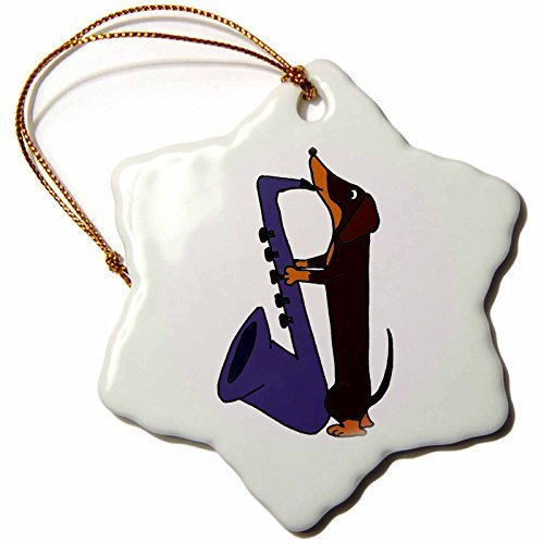 Christmas Ornament All Smiles Art Dogs - Funny Dachshund Dog Playing Saxophone - Snowflake Porcelain Ornament