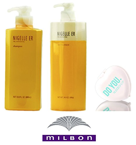 Nigelle ER Shampoo & Hair Treatment DUO Set, silky smooth and shiny by Milbon (with Sleek Compact Mirror) (23 oz + 24 oz - Large Pump DUO ()