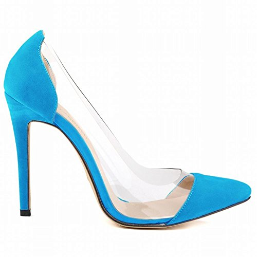 L@YC Women Pointed High Heels Flannel Fine With Shallow Mouth Wedding Dress Shoes Light Blue vrDbSvUr44