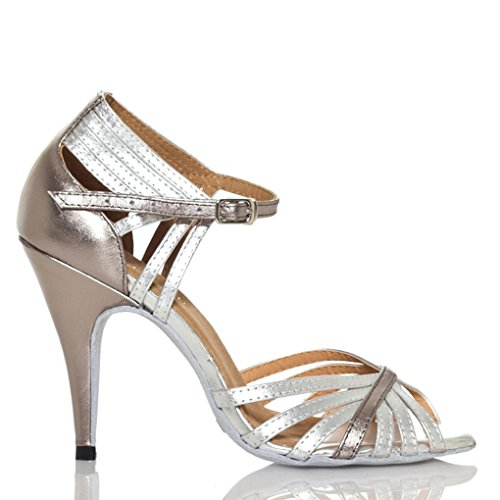 Miyoopark Womens 4 Inch Heel Strappy PU Leather Cha Cha Latin Dance Shoes Silver 1z5iSnt4k8