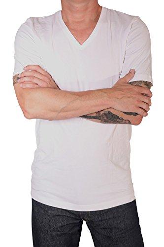MARVELiS T-Shirt Doppelpack 2 T-Shirts 1/2 Arm Weiß Body Fit V-Ausschnitt