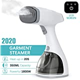 dodocool LCD Steamer for Clothes [Luxury Edition],1800W Powerful Garment Fabric Steamer with 2 Steam Mode,350ml Large Detachable Water Tank, 20s Fast Heat-up,Travel/Home/Office