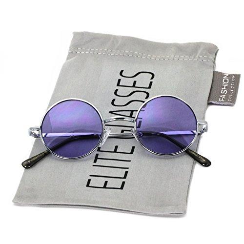 John Lennon Hipster Fashion Sunglasses Small Metal Round Circle Elton Style (Purple, - Purple Sunglasses Round