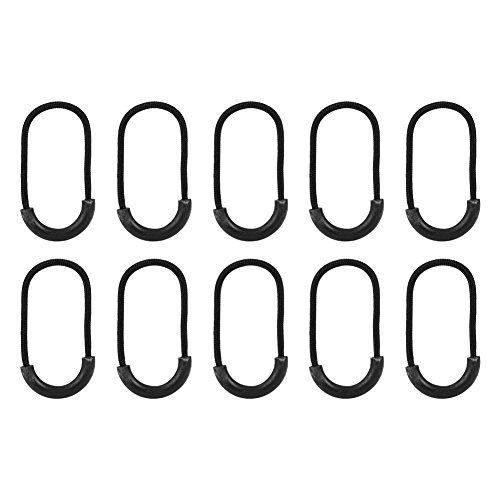 Filfeel Zipper Fixer, 10pcs/Bag EDC Black Pulls Cord Rope Clip Buckle for Clothing Bag Accessory