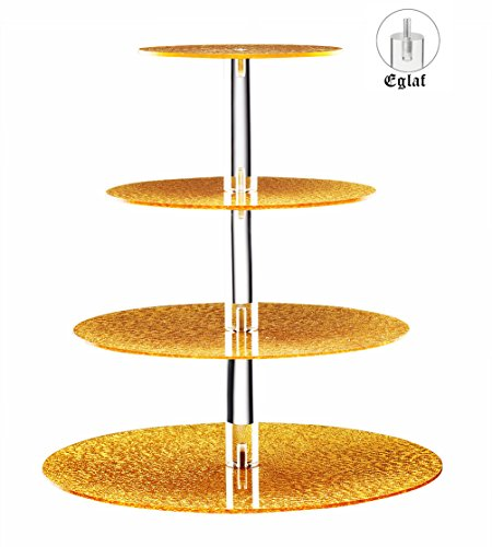 Acrylic Cupcake Stand 4 Tier Unique Golden Maypole Round Wedding Party Tree Tower with Stable Screw - On Pillars - Tiered cake Stand / Cupcake Tower for Wedding Party
