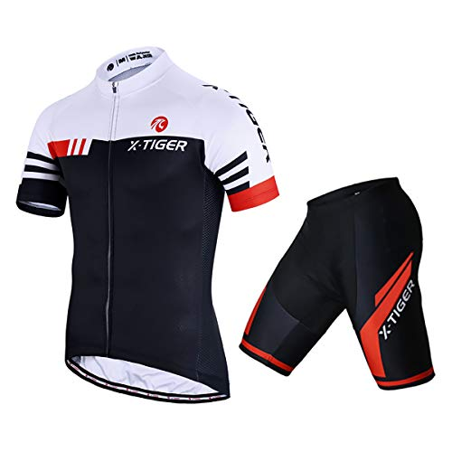 X-TIGER Men's Cycling Jersey Set Short Sleeve Biking with 5D Gel Padded Shorts MTB Road Bike Cycling Clothing Set,Red XXL