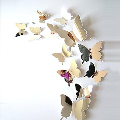 ufengke® 12-Pcs 3D Butterflies Wall Stickers Fashion Design DIY Butterfly Art Decals Crafts Home Decoration, Mirror