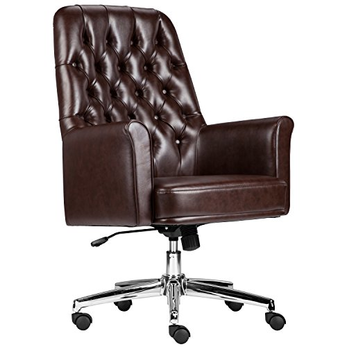 Flash Furniture Mid-Back Traditional Tufted Brown Leather Executive Swivel Chair with Arms