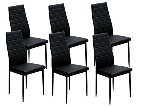 IDS Online 6 PCS Set Modern Style PU Leather Dining Side Chair with Foot Pad ()