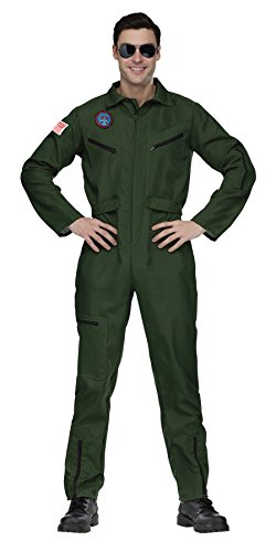 UHC Men's Military Aviator Jumpsuit Adult Outfit Halloween Fancy Costume, (Aviator Outfit)