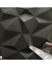 3m² / 3D wandpanelen !!!Zelfklevend!!! Gaming muur bekleding platen panelen Muurtattoo wanddecoratie POLYSTYROL MATERIAAL (3qm = 12 stuks) (diamant zwart 3m²)