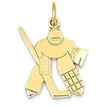 IceCarats 14k Yellow Gold Hockey Goalie Pendant Charm Necklace Sport