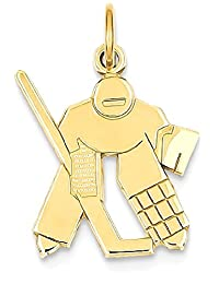 IceCarats 14k Yellow Gold Hockey Goalie Pendant Charm Necklace Sport