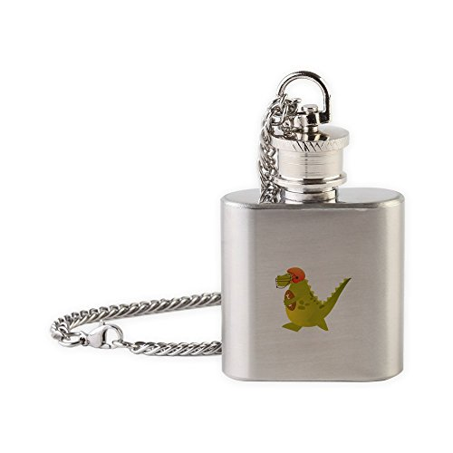 Flask Necklace Football Playing Dinosaur