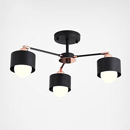 (DIDIDD Nordic style creative black postmodern wooden lamp body iron lampshade chandelier living room 3/6/8-lamp --interior lighting chandeliers,Warm-light-3-lights)