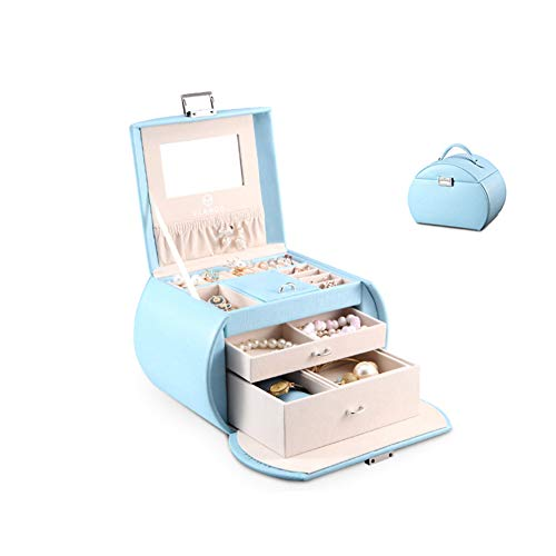 (Jewellery Box Storage Removable Tray for Boxes Storage Case Storage Box Birthday Gift Unique Half Moon Leather Jewelry Dress Up ZHAOYONGLI (Color : Sky)