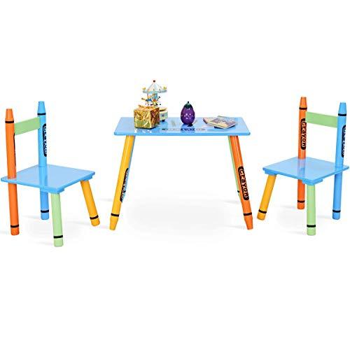costway 3 pcs. Mesa para niños con 2 sillas muebles para niño de ...