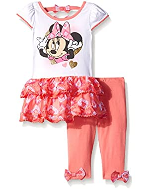 Girls' 2 Piece Minnie Tunic With Tier Ruffle and Legging Let