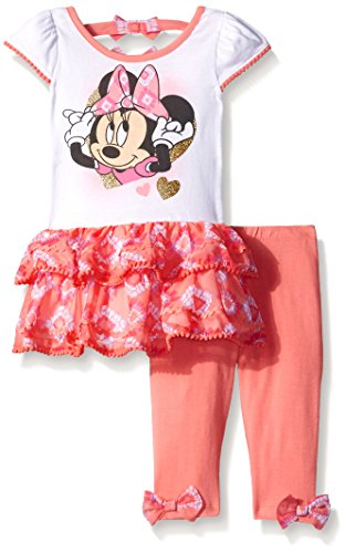 Disney Baby Girls' 2 Piece Minnie Tunic with Tier Ruffle and Legging Let, White/Pink, 18 Months
