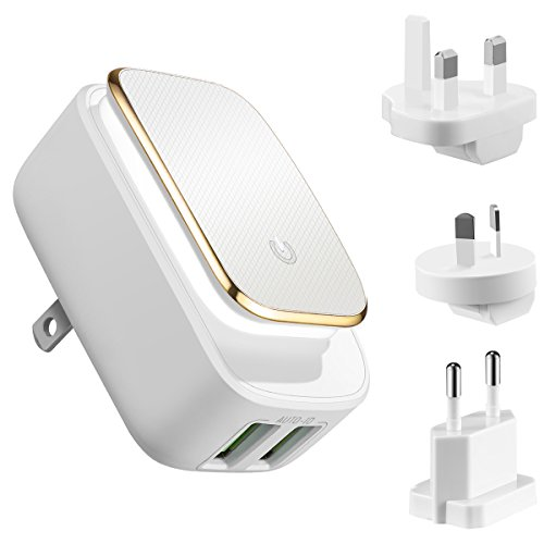 Price comparison product image KeeKit Travel Adapter, Dual USB Wall Charger(12W/2.4A), 2 Ports Plug International Charger Adapter with LED Touch Night Light for Smart Phones & Other Digital Cameras, Tablet PC etc