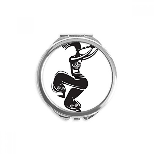 Flute Celebrate Silhouette Mexico Dance Mexican Mirror Round Portable Hand Pocket Makeup ()