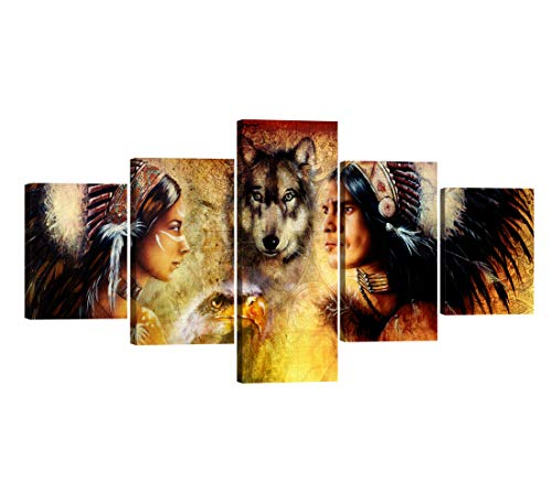 5 Piece Native American Decor Indian Man in Ethnic Feather with Eagle Canvas Wall Art Modern Paintings Posters Pictures for Living Room Bedroom Hotel Bar Office Home Decor to Hang - 50''W x 24''H