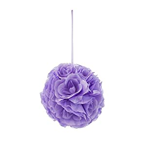 Mega Crafts Lavender Artificial Rose Pomander Kissing Ball 8'' | Hanging Ribbon Fabric Flower Décor | Wedding Receptions, Party Decorations, Backdrop Wall, Event Planning, Birthdays & Baby Showers 41