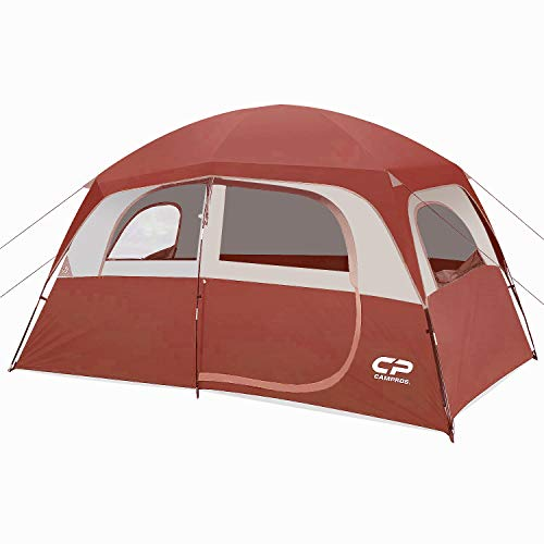 CAMPROS Tent-6-Person-Camping-Tents, Waterproof Windproof Family Tent with Top Rainfly, 4 Large Mesh Windows, Double Layer, Easy Set Up, Portable with Carry Bag, for All Seasons