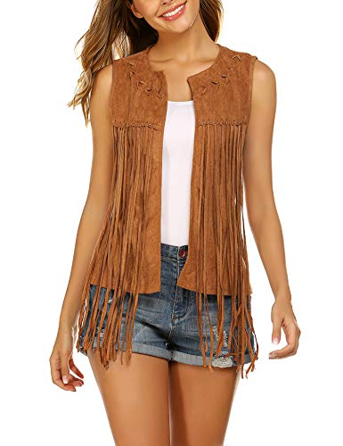 Hotouch Women Fringe Jacket Sleeveless Western Outfits for 60's/70s Pparty Hippie Vest Brown M]()