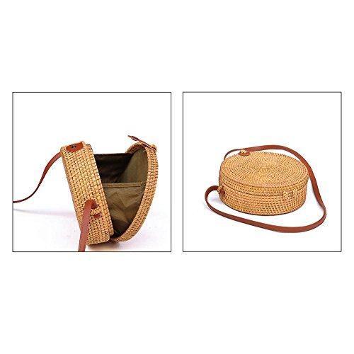 Braided Round Circular Storage Crossbody Bag Rattan Shoulder Bohemian Retro Handmade Household Bag Small Organizer Handbag Fashionable Beach Bag Woven Straw YPqAO