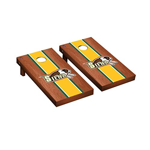 Victory Tailgate Regulation Collegiate NCAA Rosewood Stained Stripe Series Cornhole Board Set - 2 Boards, 8 Bags - Siena College Saints (Siena Board Game)