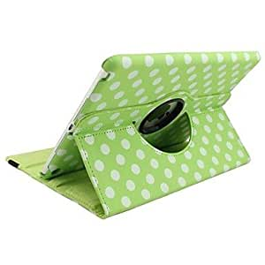 NEW Polka Dot 360 Degree Rotating Full Body Stand Leather Case for iPad Air (Assorted Colors) , Green
