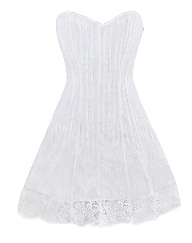 Corset Fancy Dress (Kimring Women's Gothic Retro Victorian Stripe Lace Boned Corset Dress Prom Party Homecoming Dresses White Small)