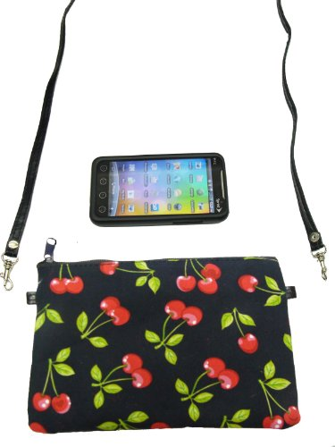 US Handmade Fashion CELL PHONE CASE, DIGITAL CAMERA BAG, CHERRY FRIUT ROCKABILLY Pattern Shoulder Bag US Handmade Cross Body Bag Handbag Purse Cotton …