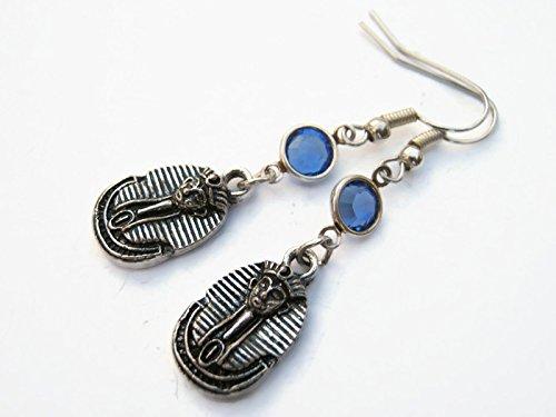Pharaoh Birthstone Earrings, Personalized Egyptian Earrings, Egypt Earrings, Cleopatra Jewelry -