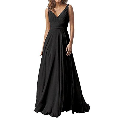 WHZZ Elegant Double V-Neck Bridesmaid Dresses Chiffon Long Women Wedding Guest Dress at Amazon Womens Clothing store: