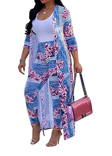 Women's 2 Piece Outfits Floral Long Sleeve Open Front Cardigan High Waist Long Pants Set Purple