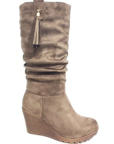 King Of Shoes Bequeme Wadenhohe Damen Keil Stiefel Stiefeletten Keilabsatz Schlupfstiefel Wedges Langschaft J1 Khaki