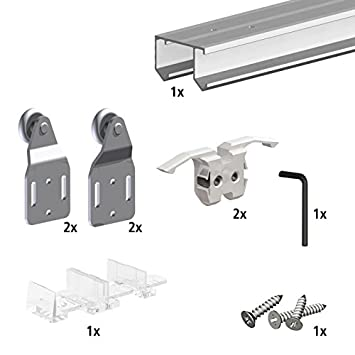 Schiebetürbeschlag für schranktüren  Schiebetürbeschlag SLID'UP 110, 180 cm, 2 Türen bis 45 kg, für ...