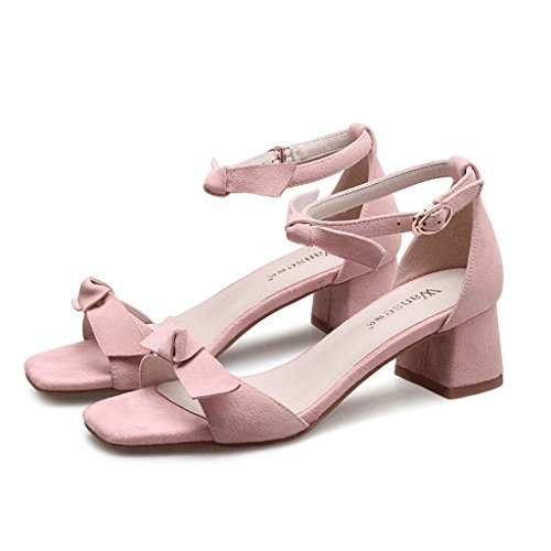 Spring Women's Heels Sandals Toe Open Elegant High Sweet Heel Rough Summer Pink Dream 4qadCw4
