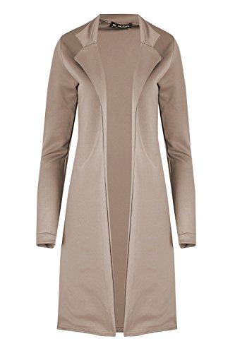 Womens Blazer Ladies Collar Open Front Long Turn up Sleeve Cape Cardigan Long Jacket Coat Mocha
