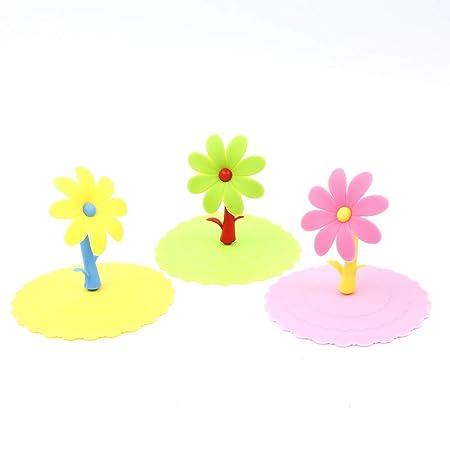 VEIREN 3 piezas flores antipolvo silicona tazas de café fundas ...